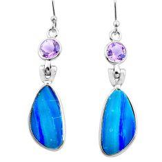 10.89cts natural blue doublet opal australian 925 silver dangle earrings p63016