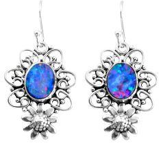 5.12cts natural blue doublet opal australian 925 silver flower earrings p52040