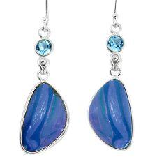 17.35cts natural blue doublet opal australian topaz 925 silver earrings p58087