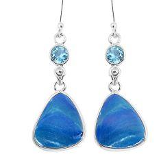 11.93cts natural blue doublet opal australian topaz 925 silver earrings p58090