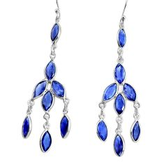 12.41cts natural blue iolite 925 sterling silver 14k gold dangle earrings p60672
