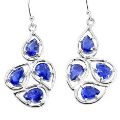 11.21cts natural blue iolite 925 sterling silver dangle earrings jewelry p36665