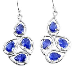 12.07cts natural blue iolite 925 sterling silver dangle earrings jewelry p36669