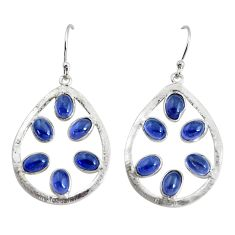 10.19cts natural blue iolite 925 sterling silver dangle earrings jewelry p43793