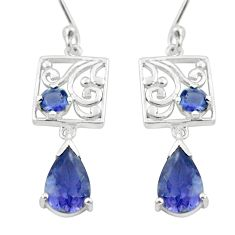 5.10cts natural blue iolite 925 sterling silver dangle earrings jewelry p62681
