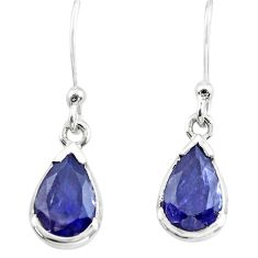4.94cts natural blue iolite 925 sterling silver dangle earrings jewelry p73575