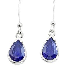 4.63cts natural blue iolite 925 sterling silver dangle earrings jewelry p73654