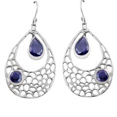 7.07cts natural blue iolite 925 sterling silver dangle earrings jewelry p82140