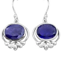 7.25cts natural blue iolite 925 sterling silver dangle earrings jewelry p82226