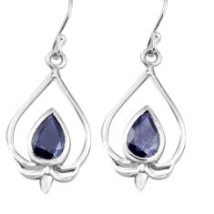 5.63cts natural blue iolite 925 sterling silver dangle earrings jewelry p82235
