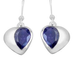 5.51cts natural blue iolite 925 sterling silver dangle earrings jewelry p82317