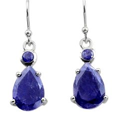 7.64cts natural blue iolite 925 sterling silver dangle earrings jewelry p82347
