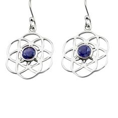 1.88cts natural blue iolite 925 sterling silver dangle earrings jewelry p84134