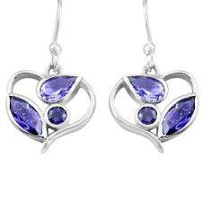 6.19cts natural blue iolite 925 sterling silver dangle heart earrings p82257