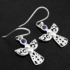 0.74cts natural blue iolite 925 sterling silver dangle owl earrings p84228