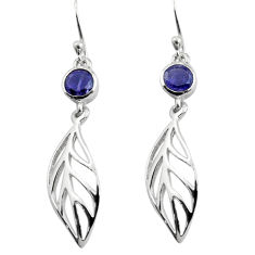 1.98cts natural blue iolite 925 sterling silver deltoid leaf earrings p84155