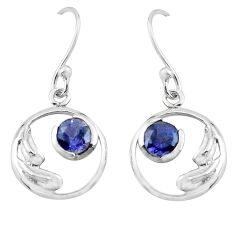 2.02cts natural blue iolite 925 sterling silver earrings jewelry p62565