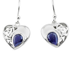 4.06cts natural blue iolite 925 sterling silver heart love earrings p73627