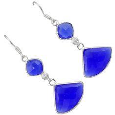 Natural blue jade fancy 925 sterling silver dangle earrings jewelry h93456