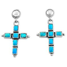 8.22cts natural blue kingman turquoise 925 silver holy cross earrings c1792