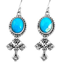 7.97cts natural blue kingman turquoise 925 silver holy cross earrings p54997