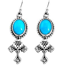 8.43cts natural blue kingman turquoise 925 silver holy cross earrings p54998