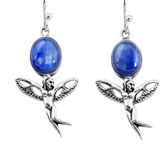 7.82cts natural blue kyanite 925 silver angel wings fairy earrings p60848