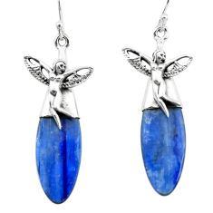 17.57cts natural blue kyanite 925 silver angel wings fairy earrings p66408