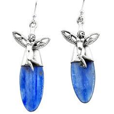 17.57cts natural blue kyanite 925 silver angel wings fairy earrings p66409