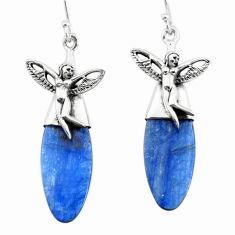 17.22cts natural blue kyanite 925 silver angel wings fairy earrings p66412