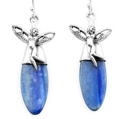 17.22cts natural blue kyanite 925 silver angel wings fairy earrings p66423