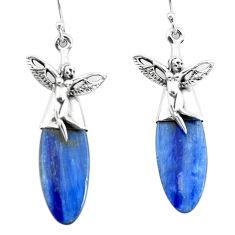 17.57cts natural blue kyanite 925 silver angel wings fairy earrings p66429