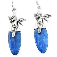 16.20cts natural blue kyanite 925 silver cupid angel wings earrings p66402