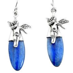 14.72cts natural blue kyanite 925 silver cupid angel wings earrings p66403