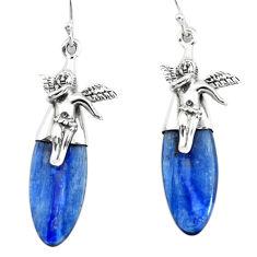 16.73cts natural blue kyanite 925 silver cupid angel wings earrings p66406