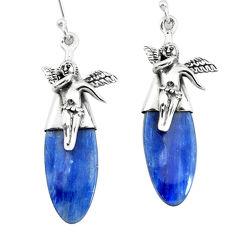 15.65cts natural blue kyanite 925 silver cupid angel wings earrings p66410