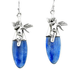 16.20cts natural blue kyanite 925 silver cupid angel wings earrings p66413