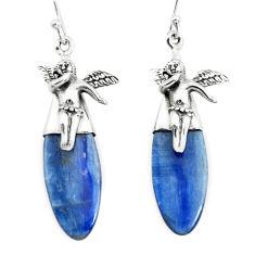 16.20cts natural blue kyanite 925 silver cupid angel wings earrings p66415