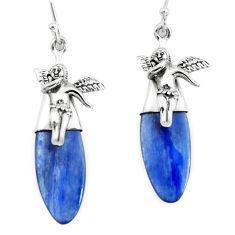 16.23cts natural blue kyanite 925 silver cupid angel wings earrings p66416
