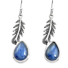 8.54cts natural blue kyanite 925 silver dangle feather charm earrings p55496