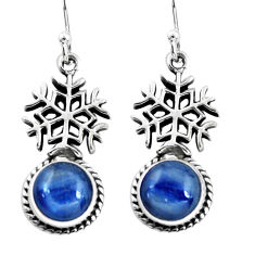 7.12cts natural blue kyanite 925 silver dangle snowflake earrings jewelry p60839