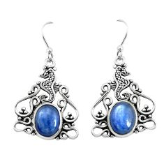 8.14cts natural blue kyanite 925 sterling silver dangle earrings jewelry p52265