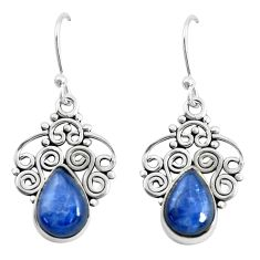 6.57cts natural blue kyanite 925 sterling silver dangle earrings jewelry p52287