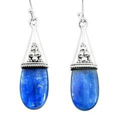 14.25cts natural blue kyanite 925 sterling silver dangle earrings jewelry p66476