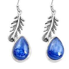 8.42cts natural blue kyanite 925 sterling silver dangle feather earrings p60812
