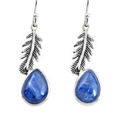 9.10cts natural blue kyanite 925 sterling silver dangle feather earrings p60814