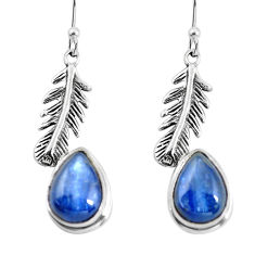 8.54cts natural blue kyanite 925 sterling silver feather charm earrings p55500