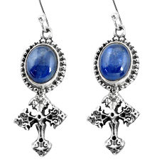 9.07cts natural blue kyanite 925 sterling silver holy cross earrings p54996