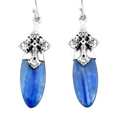 17.22cts natural blue kyanite 925 sterling silver holy cross earrings p66421
