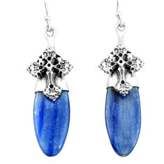 17.18cts natural blue kyanite 925 sterling silver holy cross earrings p66425